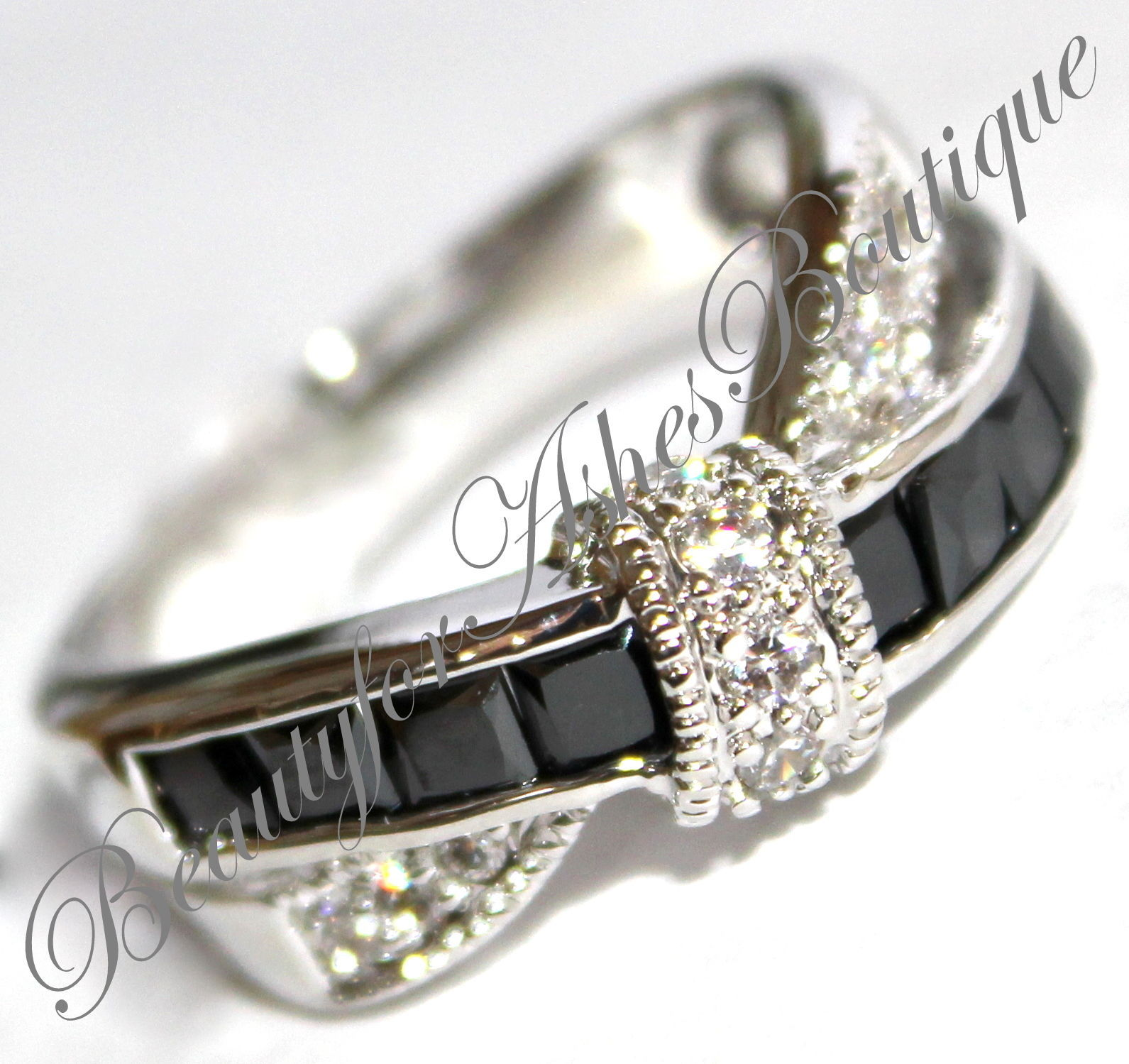 Womens Girls After Midnight Black White Tie Clear Cz Tuxedo Cocktail Ring - $14.95