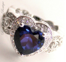Love Beauty for Ashes® Heart for Jerusalem Sapphire Blue Cz Cocktail Ring 12 - $59.00