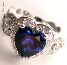 Love Beauty for Ashes® Heart for Jerusalem Sapphire Blue Cz Cocktail Ring Size 6 - $59.00