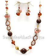 BFA Womens Autumn Glass Stone Chip Leopard Beads Rustic Fall Necklace Set - $9.95