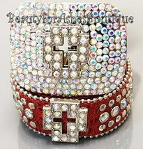Christian Bling Cowboy Western Cross Red Belt Buckle Leather AB Crystals... - $107.93