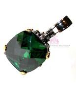 Stunning Womens 15mm Two Tone Checker Cut Throne Room Emerald Green CZ P... - $75.00