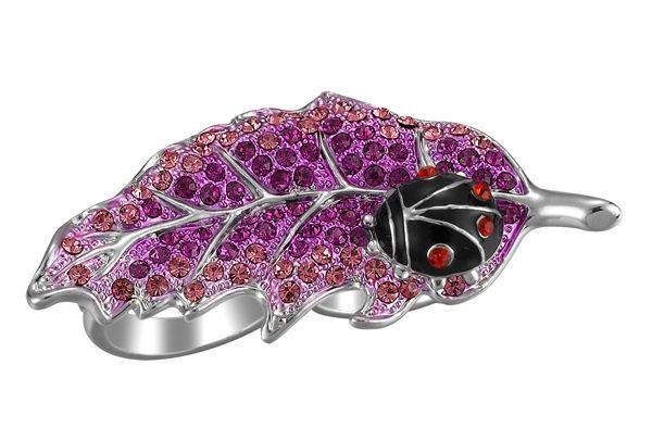 Fun Whimsical Black Enamel Ladybug Pink Crystal Leaf Knuckle Ring Adjustable - $5.97