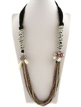 Long Faux Black Lace Pearl Charm Queen Esther Hadassah Crystal Strand Necklace - $125.00