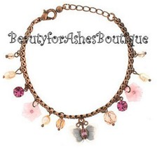 Girls Cute Copper Butterfly Charm Fresh Water Pearl Crystal Garden Lily ... - $9.95