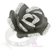 Oversized Cubic Zirconia Black Matte Charcoal Rose Crystal Chunky Flower... - $24.97