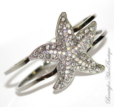 Aurora Borealis Starfish Hinged Cuff Bracelet Resort Glam Clear Crystals Beach - $21.50
