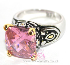 Beauty for Ashes 12mm Womens Throne Room Pink Ice Facet Cut CZ Gold Plat... - $59.99