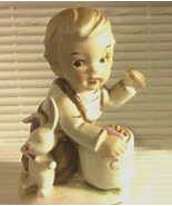 Vintage Figurine Toddler Boy Sneaking a Cookie Kneeling In Overalls w/bunny - $11.99