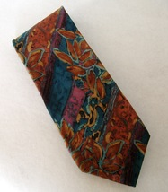 Renaar Neck Tie 100% Silk Copper Blue Purple Flower Leaf Stripe Abstract Mens - $28.00