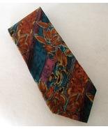 Renaar Neck Tie 100% Silk Copper Blue Purple Flower Leaf Stripe Abstract... - $28.00