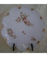 Limoges Decorative Plate, Pink Floral Pattern, Porcelain - $15.00
