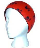 Fleece Ear Warmer Headband Red Black Paw Prints One Size CLEARANCE - $6.75