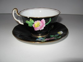 Adderly English Bone China Gilded Black Tea Cup and Saucer Pink Flowers ... - $45.00