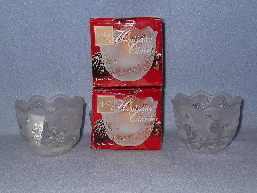 "Primary image for Mikasa Holiday Classics 2 Santa 3"" Votive Candle Holders SA 520/611 Glass"