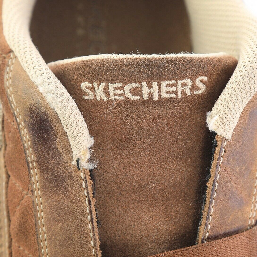 Skechers Brown Leather Suede Fashion Sneakers Bicycle Toe Shoes Womens 6.5