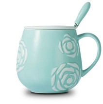 Flower Relief Blue Mug Ceramic Coffee Milk Tea Cup + Cover Lid + Spoon - $33.95