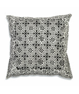 Farmhouse LEO COTTON THROW PILLOW Country White Black Floral Cushion Bed - £28.34 GBP