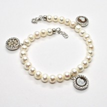 Armband 925 Silber mit Perlen Wasser Dolce Kamee Kamee Zirkonia Kubische - $213.81