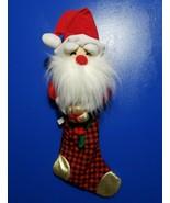 """Vintage Christmas Stocking Santa Claus Hat Ribbon 23"""" Holiday  - $19.99"""