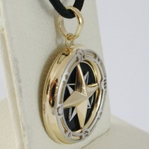 18K WHITE YELLOW GOLD ONYX 16 MM WIND ROSE COMPASS PENDANT, STAR, MADE IN ITALY image 2