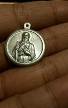 STERLING SILVER Antique Saint Jude Pray For Us Medal Pendant Charm - $22.52