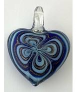 Artisan Blown Glass Heart Pendant, Blue - $18.99