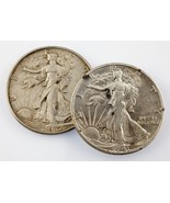 1937 and 1941-S 50C Walking Liberty Half Dollars in AU Condition - $53.45