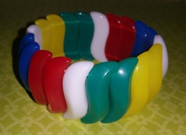 "Vintage 80's AVON ""Summer Brights"" Stretch Bracelet Multi-Color Red Blue... - $7.00"