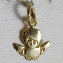 SOLID 18K YELLOW GOLD PENDANT, MINI GUARDIAN ANGEL, ENGRAVING, MADE IN ITALY image 1