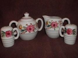 Sugar Creamer 4 pc Set Salt Pepper Ceramic Ribbed Flowers Maroon Accents... - $10.99