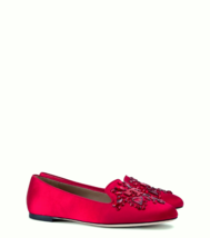 Tory Burch Red Delphine Embellished Loafer Flats Red Size 5 MSRP: $325.00 - $128.69