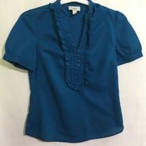 Ann Taylor Loft Womens Size XS Blue Cotton Blouse Pullover Side Zipper - $21.03