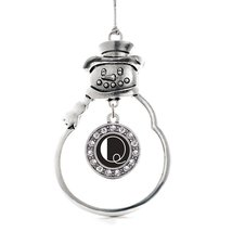 Inspired Silver My Vintage Initials - Letter Q Circle Snowman Holiday Christmas  - €12,80 EUR