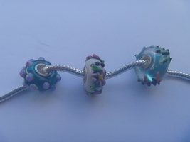 3 charms lampwork murano glass pandora style FREE POSTAGE WORLD - $6.93