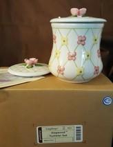 Longaberger Pottery Stoneware DOGWOOD TOOTHBRUSH HOLDER TUMBLER JAR #90123 - $15.00