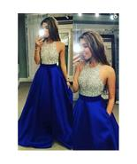 Fashion Women Sexy Halter Sleeveless Sequined Splice Evening Party Dress - $42.00