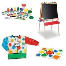 Melissa & Doug 132247KT Kids Lets Play Artist Easel Paint Drop Cloth & S... - $104.95