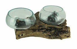 Contrast Inc. Molten Glass On Coffee Wood Root Double Bowl/Vase/Plant Te... - $95.99