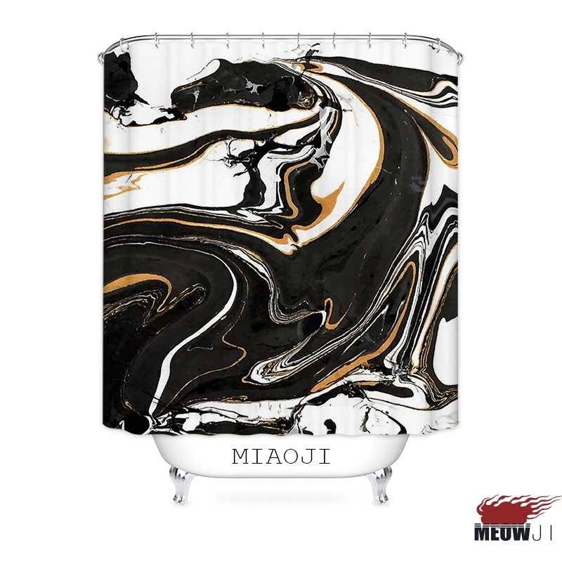 [MIAOJI] Luxury Tonal Art Paint Marble Black Gold Fabric Shower Curtain Multi Si image 5