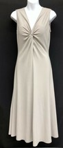Shape FX Sz S Fit & Flare Tan Womens Midi Skater Sleeveless Dress w/Slip... - $21.85
