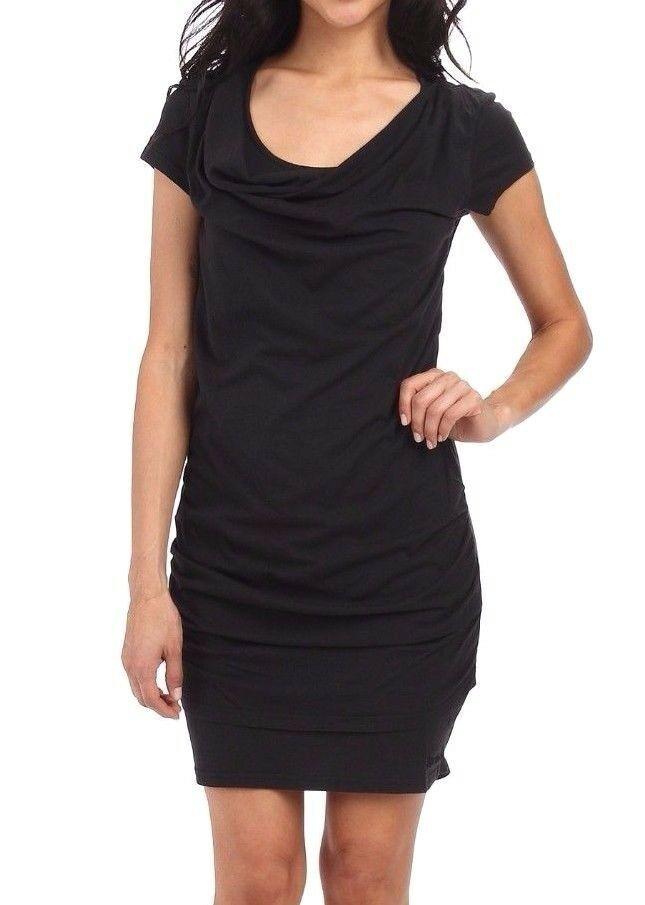 Bench Damen Freizeit Kleiner Schwarz Twistout T-Shirt Strandkleid BLSA1606 Nwt