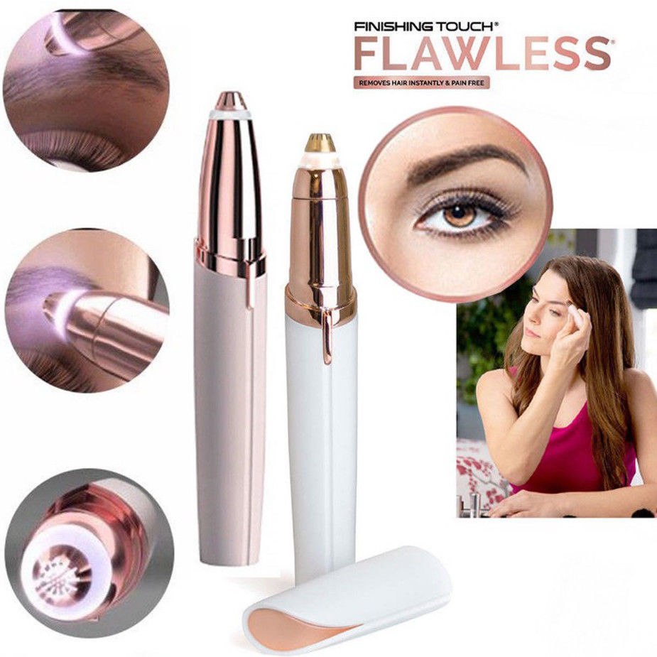 New Electric Finishing Touch Flawless Brows Hair Remover Face Eyebrow LED Light