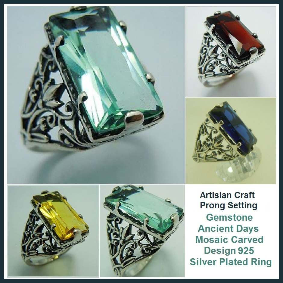 Medieval Clear Gemstones Artisian Crafted Ancient Mosaic Antique Silver Ring