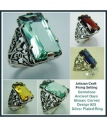 Medieval Clear Gemstones Artisian Crafted Ancient Mosaic Antique Silver ... - $110.95