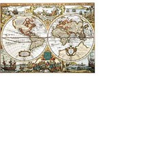 World Map Collectible Vintage 8X10 Silver Foil Print - $6.99