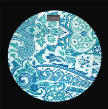 """Cynthia Rowley Green Blue Paisley Floral THICK  Melamine 9"""" Luncheon Pla... - $39.99"""