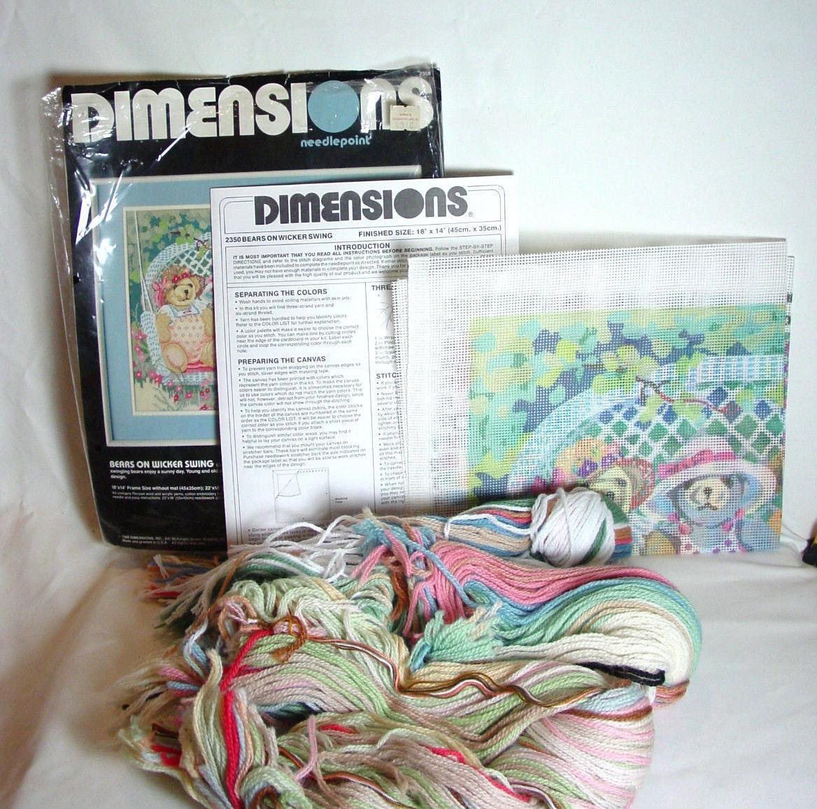 Dimensions Needlepoint Kit 2350  By Dawna Barton Bears on wicker Swing open 1988