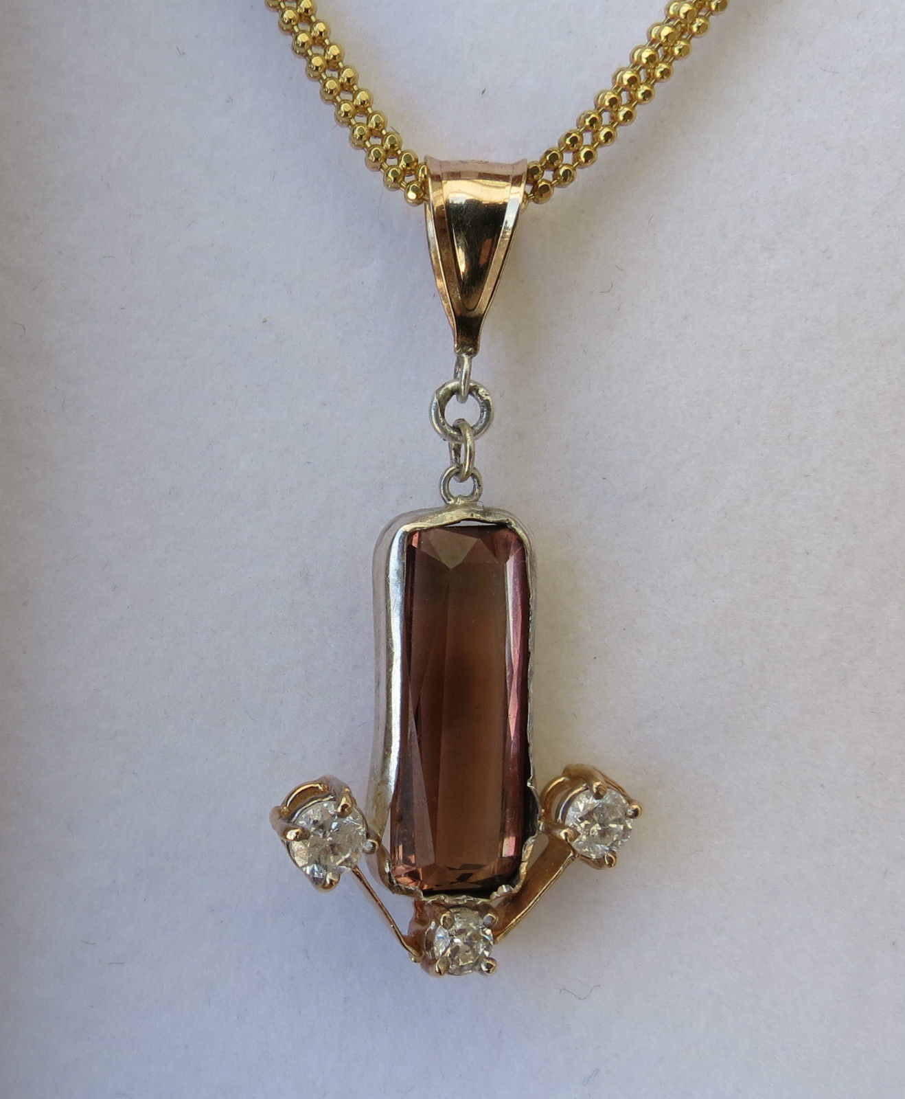 Estate Custom14k gold 6.4 carat pink peach Tourmaline & diamond necklace
