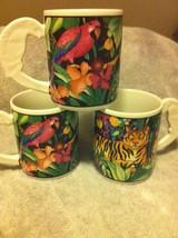 (3)  VITROMASTER--RAIN FOREST--COFFEE MUGS--PARROT HANDLE-----FREE SHIP-... - $26.97